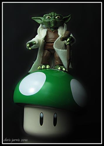 Yoda on a mushroom.