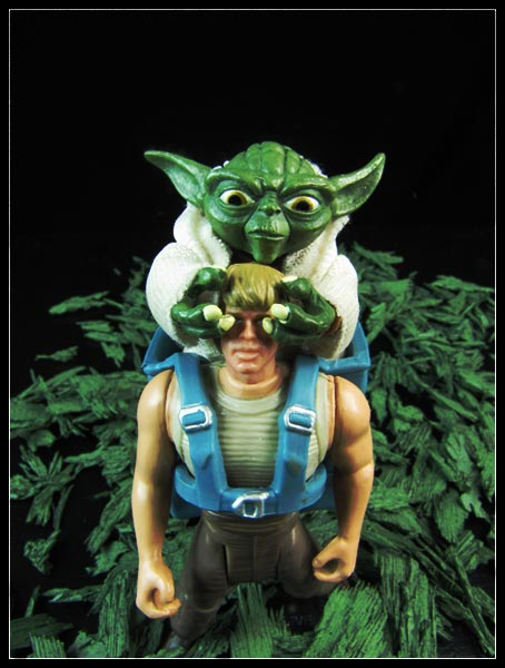 Yoda and Luke Skywalker play guess who.