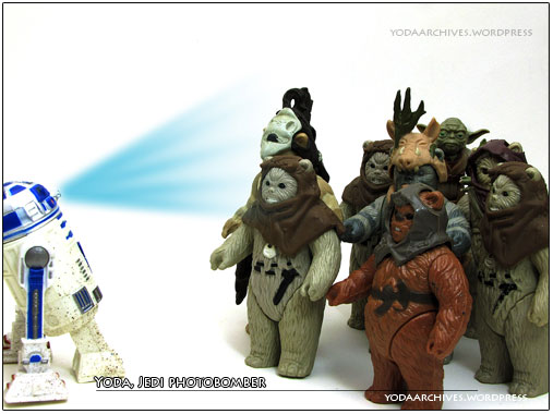 Yoda photobombs the ewok reunion