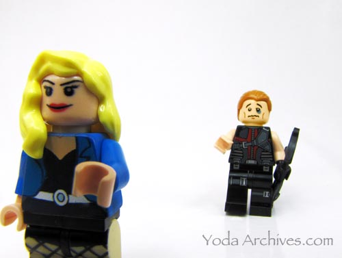 "LEGO black canary gives black eye to lego hawkeye. Text says ""now you'll be known as Blackeye."""