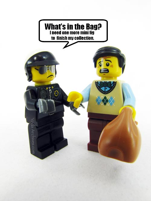 Bad cop wants to know what is in the blindbag. check this page for tips and link for lego and other blind bag toys.