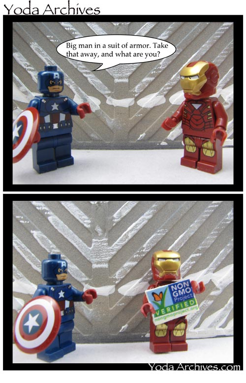 Big man ina suit of armor, LEGO Capt America and Iron Man