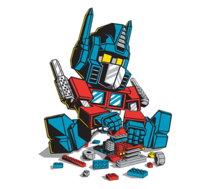 Optimus prime plays with legos