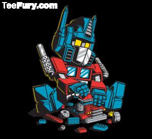Optimus prime plays with legos