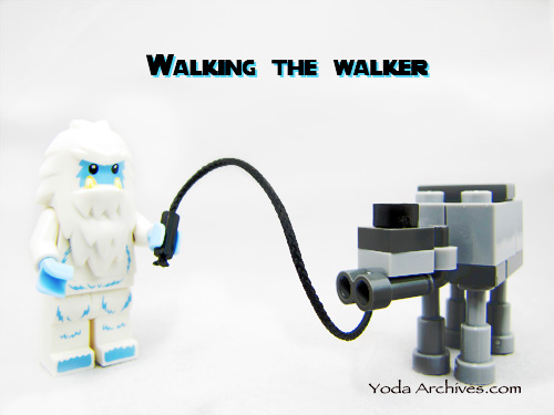 lego Yeti minifigure and his AT-AT walker.