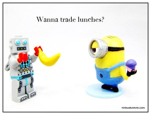 minions want bannana lego robot