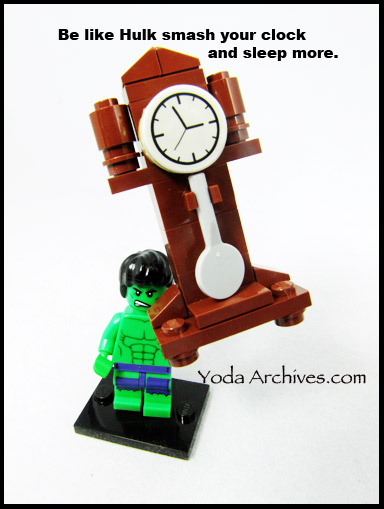 LEGO Hulk lifting a grandfather clock for daylight savings time.