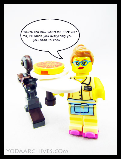 lego comic minifig waitress