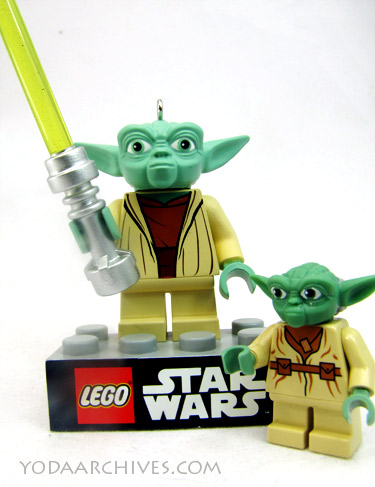 Yoda ornament next to Yoda mini-fig