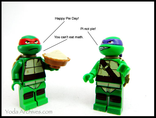 teenage muntant ninja turtles lego minis celebrate pi day.