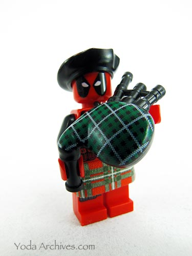 LEGO Deadpool palying bagpipes in a kilt