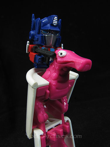 Optimus Prime on a T-rex