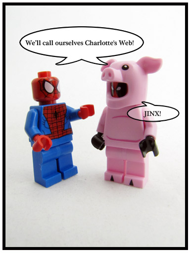 Deadpool on a pigsuit talikng to spider-man