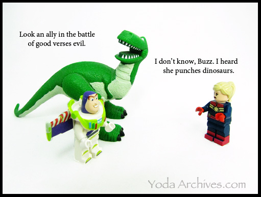 LEGO Captain MArvel meet Rex and LEGO Buzz lightyear