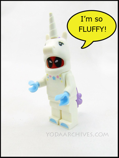 LEGO Deadpool in a unicorn costume