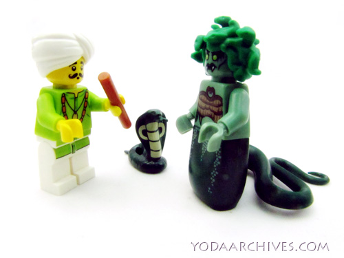 the snake charmer tries his luck on medusa