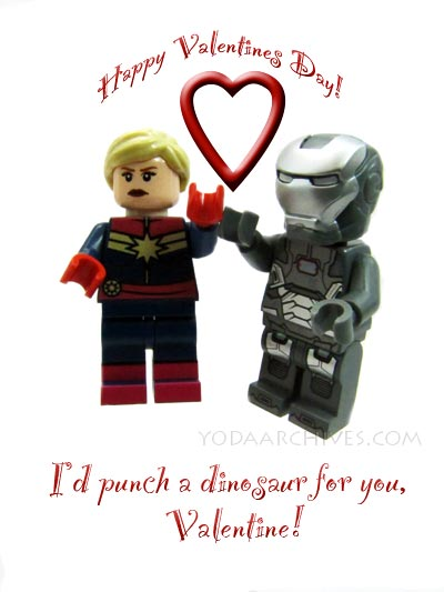 LEGO Captain Marvel and LEGO Warmachine wish you a haapy valentines day.