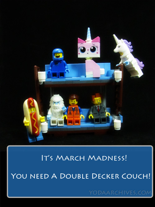lego double-decker couch with benny, unikitty, unicorn girl, hot dog guy, emmet, yeti and president business.