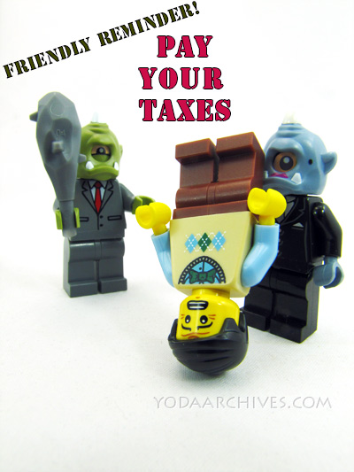 April 15 Tax day. Cyclops tax collectors are getting taxes from a tax payer. one is holding a club the other is holding the taxpayer upsidedown by his ankles.