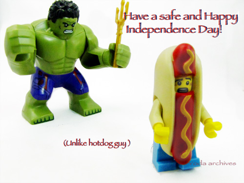 LEGO Hulk chases hot dog suit guy.