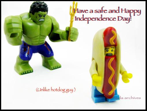 Large scale lego hulk chases hotdog guy minifig