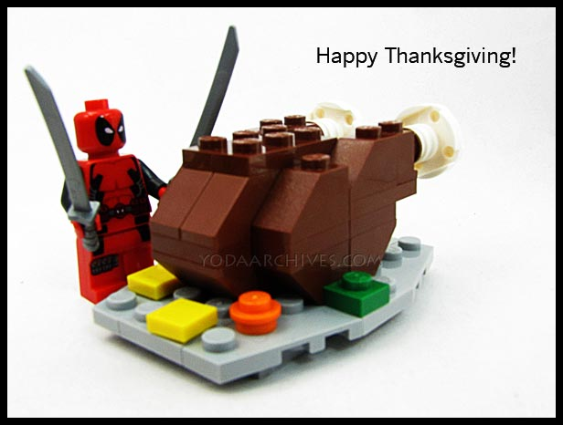 lego deadpool carves an oversized turkey