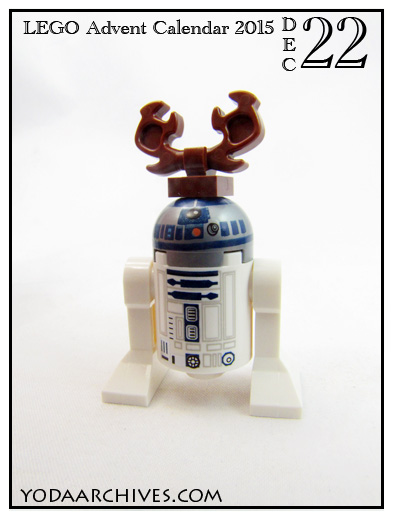 R2D2 dressed as a reindeer