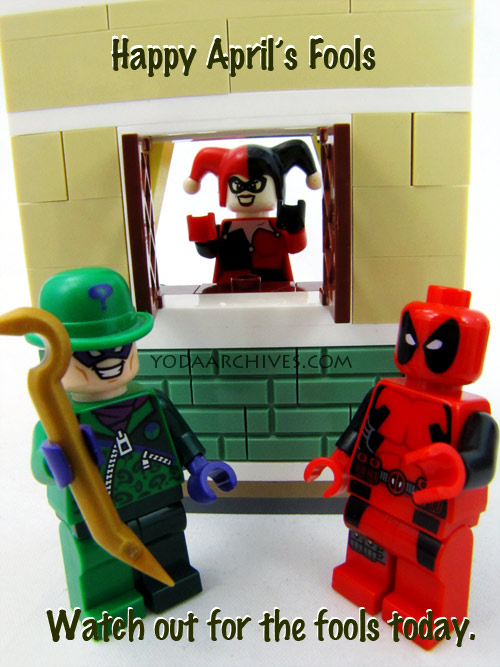 LEGO Deadpool, harley quinn, and the riddler celebrate april fools day