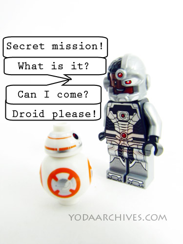 BB-8 meets Cyborg of the JLA, Cyborg wants to know about and join bb-8 on his secret mission.