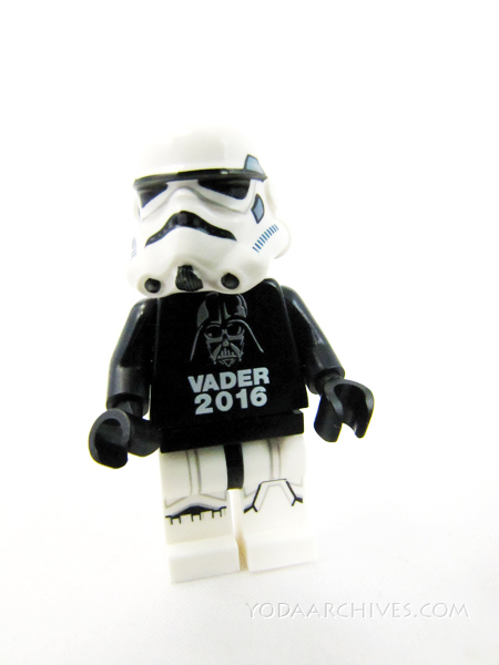 LEGO Stormtrooper wearing a vote Darth Vader tee