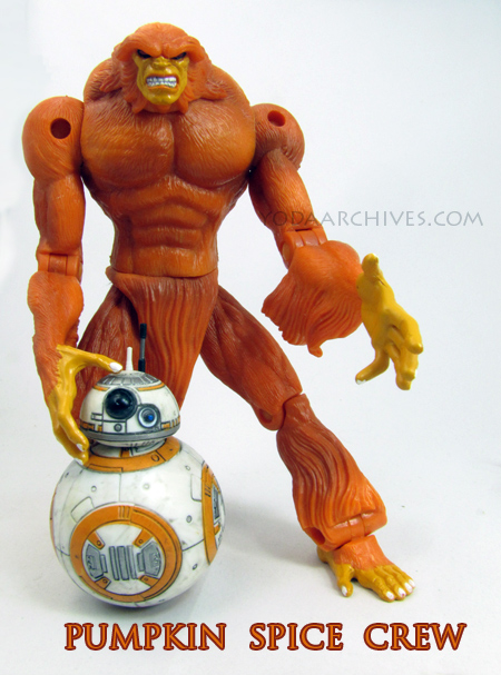 BB-8 and Sasquatch of Alpha flight express their love of pumpkin spice