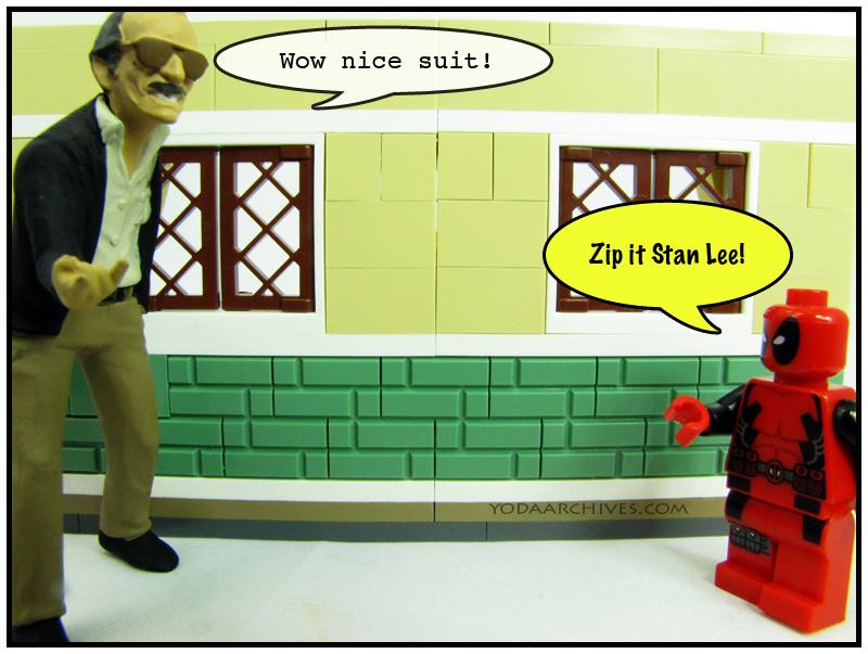 Stan Lee admires deadpool's suit Deadpool tells him to zip it..