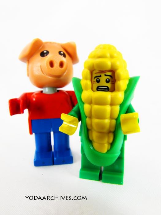 Fabuland pig chasing corn suit guy.