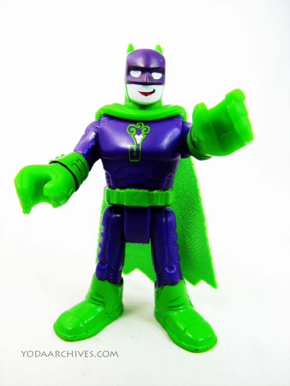 Joker in a batman costume but the color are joker themed purp;r and green