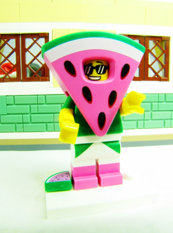 LEGO mini-fig in a watermelon slice costume.