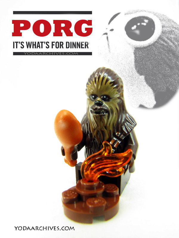 "LEGO Chewbacca roasting a porg over a fire. There is a Porg funko pop in thr background and text that reads ""Porg it's what's for dinner."""""