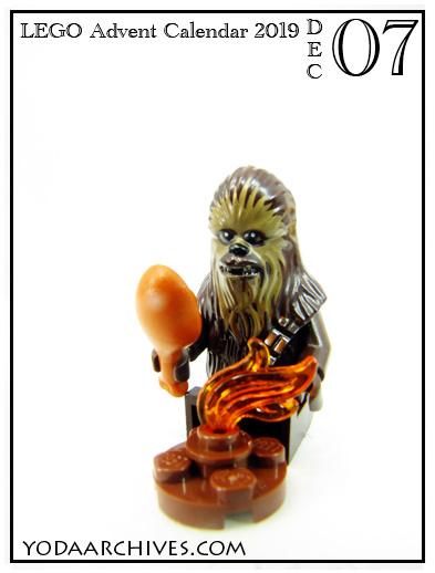 LEGO Chewbacca roasting a porg over a fire.