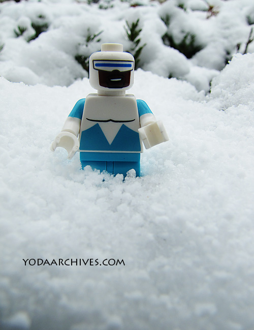 LEGO Frozone minifig in the snow.
