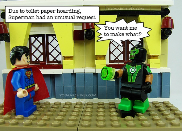 "LEGO Sperman and green lantern facing each other. caption reads ""due to toilet paper harding, superman makes an unusual request."" Green lantern says ""You want me to make what?"""