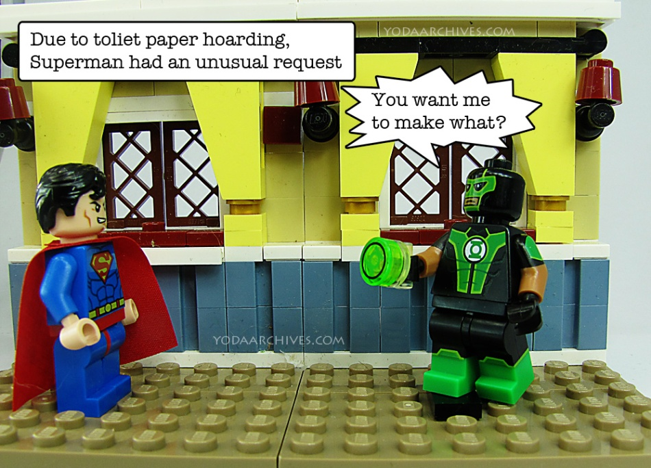 """LEGO Sperman and green lantern facing each other. caption reads """"due to toilet paper harding, superman makes an unusual request."""" Green lantern says """"You want me to make what?"""""""