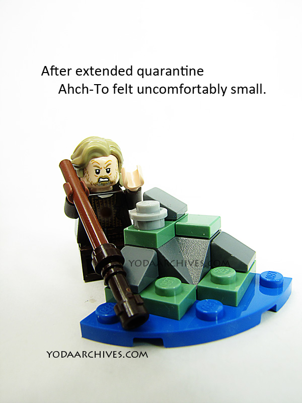 luke skywalker lego minifig standing over a micro model of ahch-to. text says after being stuck a while the island feels cramped.