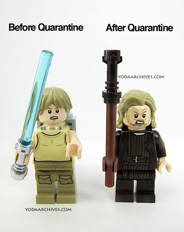 Two lego figures facing the screen. One is young luke skywalker the other is old luke; above young luke are the words beforequaratine. above old bearded luke after quaratine.