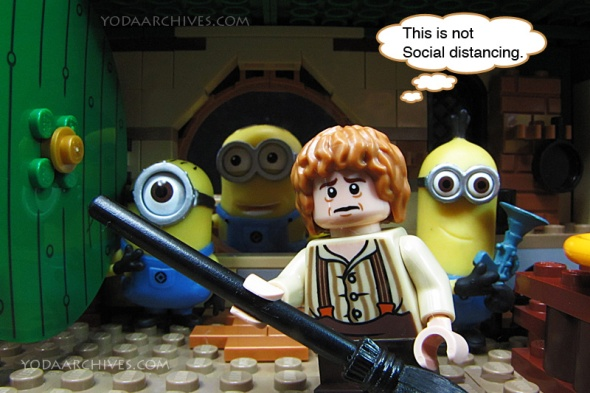 Frodo at Neg end. Minions from despicable me are at the door.. Frodo says this is not social distancing.