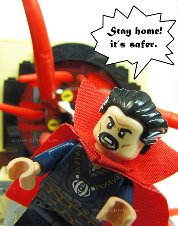 dr strange saying stay home.