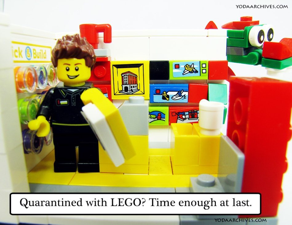 LEGO minifig in LEGO Store. caption reads Time enough at last.