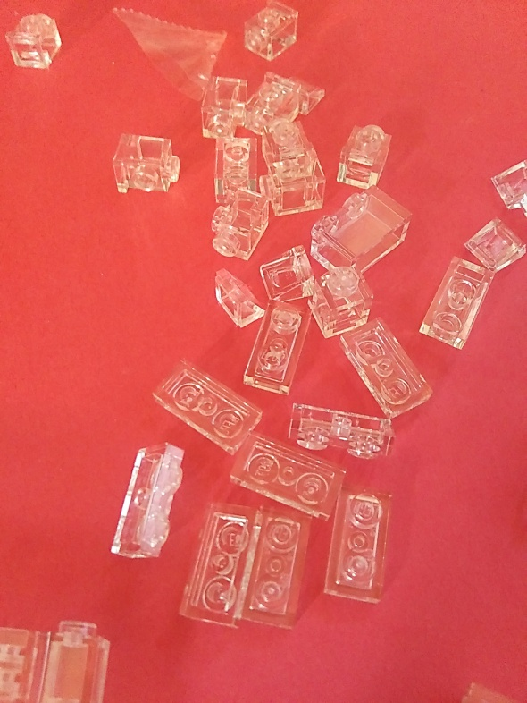 pile of clear LEGO bricks.
