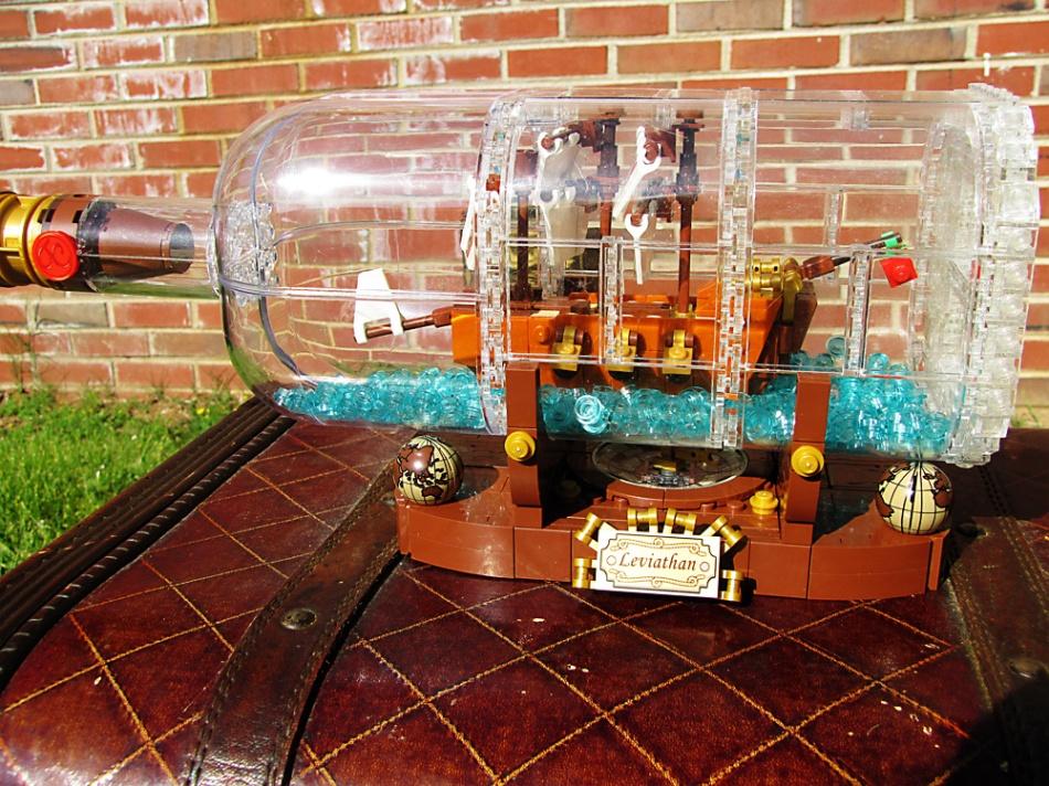 LEGO ship in a bottle.