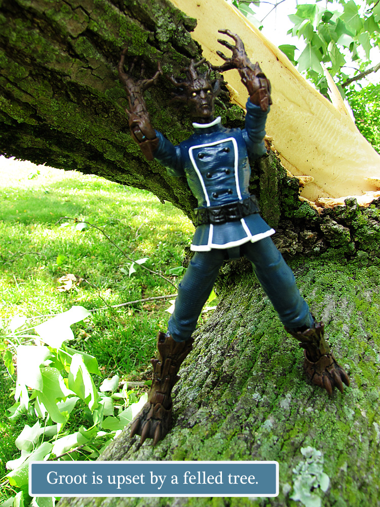 Groot action figure standing on storm felled tree.