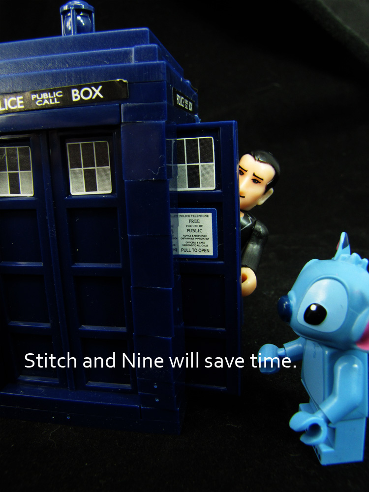The ninth doctor in the Tardis with stitch. Caption Stitch and nine will save time.i