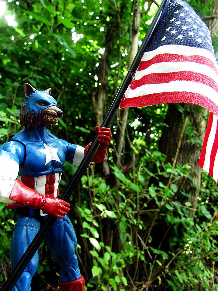 Werewolf captain America holding a US flag.